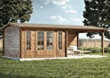 Alpholz Gartenhaus Freiburg-44 aus Massiv-Holz   Gerätehaus mit 44 mm Wandstärke   Garten Holzhaus inklusive Montagematerial   Geräteschuppen Größe: 755 x 399 cm   Satteldach