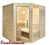 Finnline Massivholzsauna Family I 220 x 220 x 200 cm mit Eckeingang I 45 mm massiv I 5-Eck I Inkl. Saunaofen & Steuerung I Inkl. Lieferung I Saunakabine I Saunaanlage I Saunabau I Saunazubehör