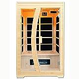 Artsauna Infrarotkabine Schweden 120 mit Flächenstrahler| 2 Personen Kabine aus Hemlock Holz | 120 x 100 cm | Infrarotsauna Infrarot Wärmekabine