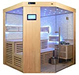 Saunakabine Sauna komplett Saunen Massivholz Traditionelle Sauna Video-Sauna AGNETHA 180 x 180 cm Bioofen weissem Marmor