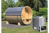 Karibu Fass - Sauna 2 42 mm inkl. 9-kW-Bioofen - Saunahaus