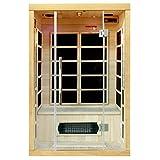 Artsauna Infrarotkabine/Wärmekabine Skagen 125 mit Flächenstrahlern & Hemlockholz | Infrarotsauna mit Glasfront für 2 Personen