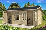 Alpholz 2-Raum Gartenhaus Bolton-28 XL aus Massiv-Holz   Gerätehaus mit 28 mm Wandstärke   Garten Holzhaus inklusive Montagematerial   Geräteschuppen Größe: 540 x 260 cm   Satteldach