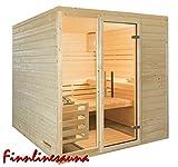 Finnline Massivholzsauna Family I 196 x 196 x 200 cm I 45 mm massiv I 4-Eck I Inkl. Saunaofen & Steuerung I Inkl. Lieferung I Saunakabine I Saunaanlage I Saunabau I Saunazubehör