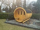 JUNIT SFF22401 Ø 2,2 m, L 4,0 m, Saunafass, Fichte mit und ohne Terrasse für 6-8 Personen