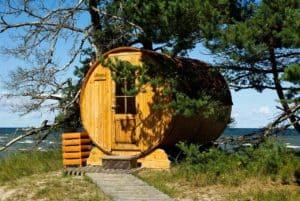 Fasssauna unter einem Baum am Meer - mit Fenster